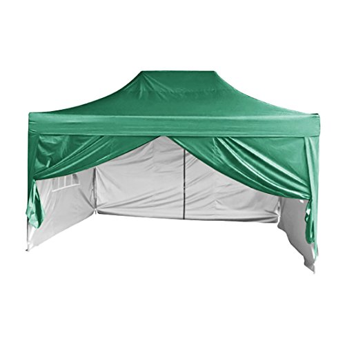 (Quictent Silvox Waterproof 10x15' EZ Pop Up Canopy Commercial Gazebo Party Tent Green Portable Pyramid-roofed Style Removable Sides With Roller)