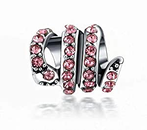 Pink Snake Spacer Charm with Crystals by Crystal H Brand for Pandora Bracelet