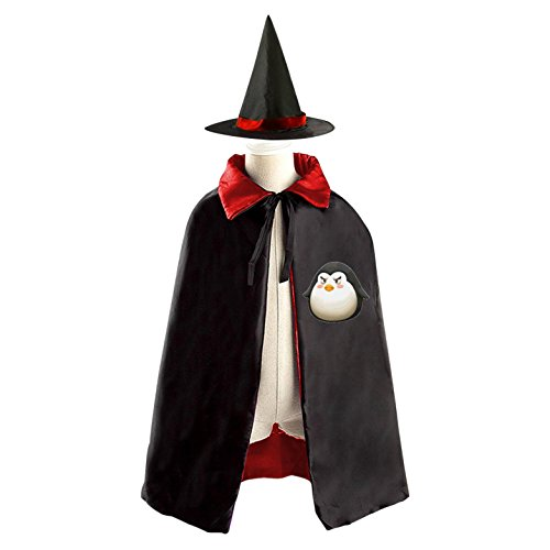 Penguin Cute Kids' Cloak Cape Mantle Cosplay with Witch Hat for Masquerade