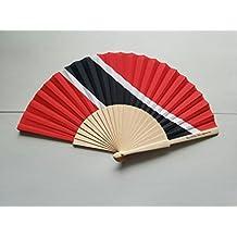 Trinidad & Tobago Flag Fabric Folding Hand Fan with Bamboo Handles