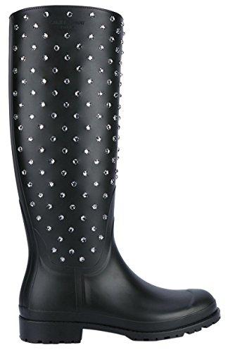 Saint Laurent Women's Black Festival Embellished Rubber Rain Boots Shoes, IT 35 / US 5, Black (Yves St Laurent Shoes)
