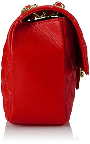 Made Women Quilted 65''x6 10 rosso Italy Genuine 70''x4 Ctm Stylish Leather 35'' Bag Leather In 100 Red qUwA47E