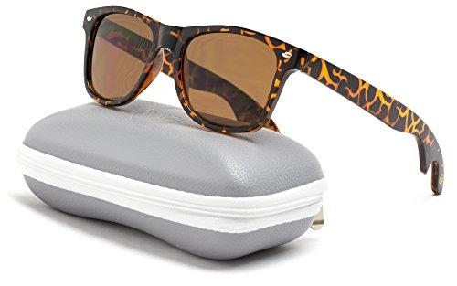 Sunglasses Brown Lens Tortoise Frame - New Wayfarer Style Bottle Opener Sunglasses (Tortoise Frame / Brown Lens, 60)