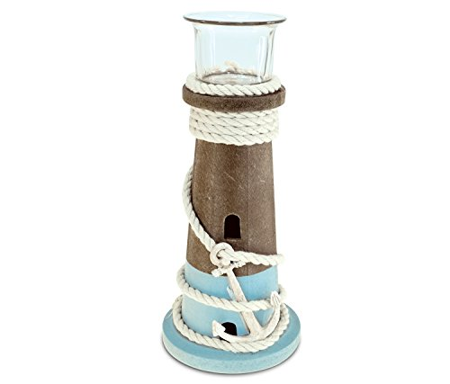 (Puzzled Evian Large Wooden Lighthouse Tea Light Candle Holder, 8.75