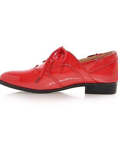 Uk3 Eu35 2016 Verni Njx Talons Red Bas Habillé Rouge Blanc Cuir Cn34 Femme us5 Richelieu Noir Bout Arrondi Talon Chaussures Décontracté HwUqCw