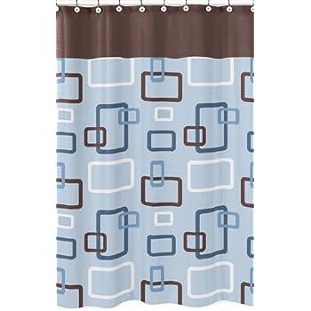 This Item Blue And Brown Geo Bathroom Fabric Bath Shower Curtain By Sweet  Jojo Designs