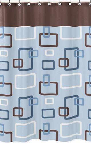 Blue And Brown Geo Bathroom Fabric Bath Shower Curtain By Sweet Jojo Designs