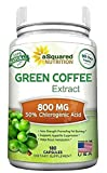 100% Pure Green Coffee Bean Extract - 180 Capsules - Max Strength Natural GCA Antioxidant Cleanse for Weight Loss, 800mg w/ 50% Chlorogenic Acid per Pill,