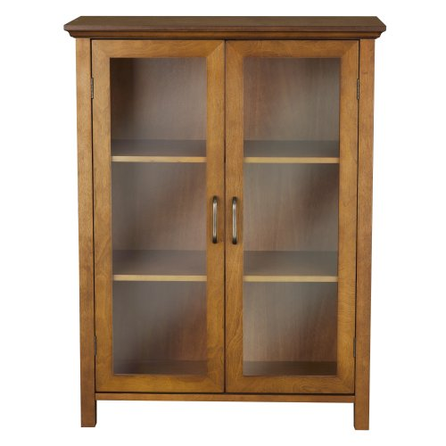 Elegant Home Fashion Anna Floor Cabinet with 2-Door (China Cabinet Oak Glass)