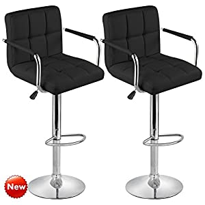 Popamazing Swivel Bar Kitchen Breakfast Bar Stools Chair For Kitchens Set  Of 2 With Backs And Arms (Black)