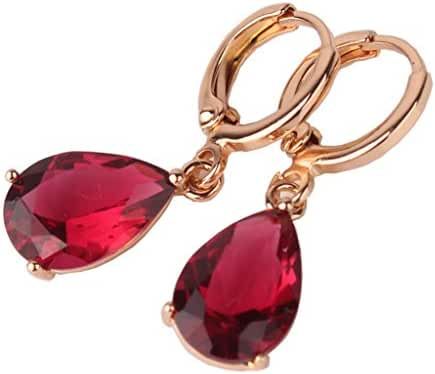 GULICX Lady jewelry gift Pear Cut Ruby Color White Gold Silver Tone Women Sparkle Dangle Earrings