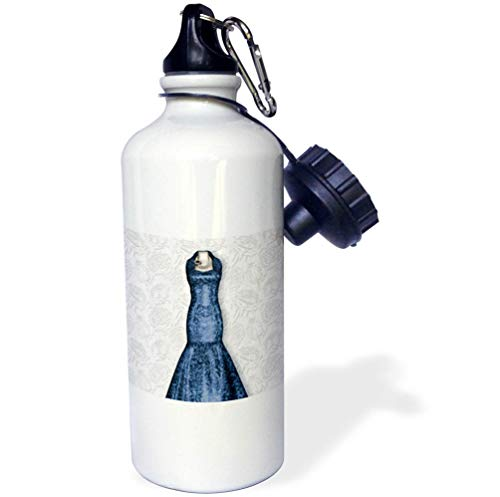 3dRose Doreen Erhardt Wedding Collection - Blue Bridesmaid Gown on Soft Faded Rose Bud Background for Wedding - 21 oz Sports Water Bottle (wb_304624_1)