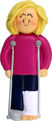 On Crutches - Christmas Ornament (Female Blonde)