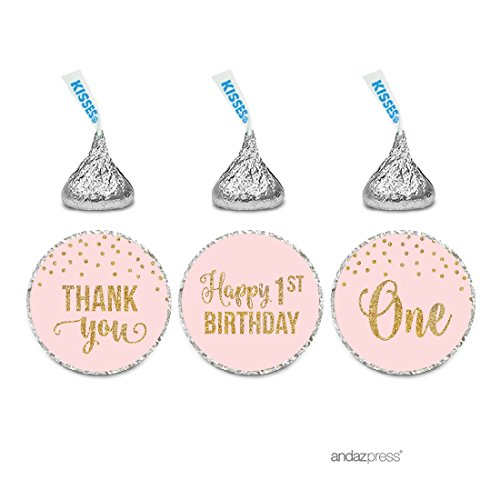 (Andaz Press Blush Pink Gold Glitter Girl's 1st Birthday Party Collection, Chocolate Drop Label Stickers Trio, 216-Pack, Fits Hershey's Kisses Party)