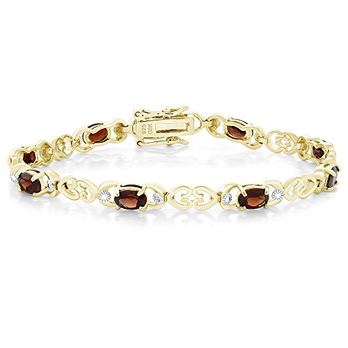 (5.00 Ct Garnet 18K Gold Plated Sterling Silver 7 Inch Bracelet with Diamond Accent)
