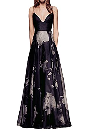 Rjer Womens Chiffon Floral Prints Spaghetti Straps Long Prom Dress Evening Party Dresses