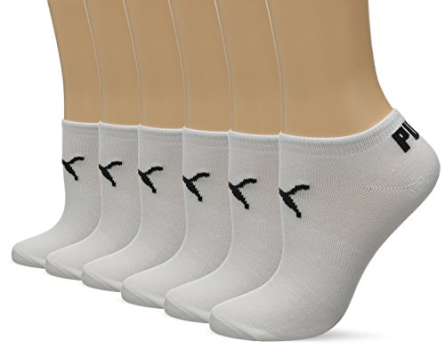 PUMA Women's 6 Pack Runner Socks, White/Black, 9-11
