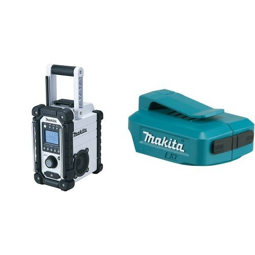 Makita XRM02W 18V Compact Lithium-Ion Cordless Job Site Radio, Tool Only with ADP05 LXT Lithium-Ion Cordless Power Source, 18V