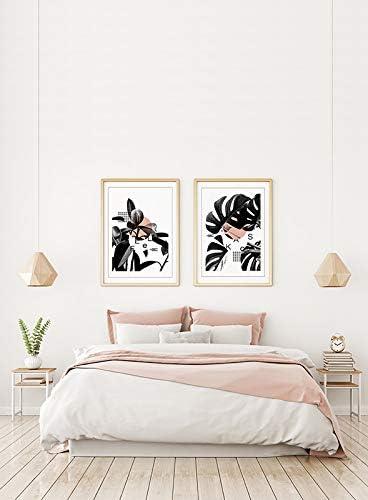 MILUKA Pack 2 Láminas para Enmarcar para Cuadros Estilo Nórdico | Poster de Plantas Blanco y Negro | Feel y Kaos | Tamaño 50 x 70 cm: Amazon.es: Hogar