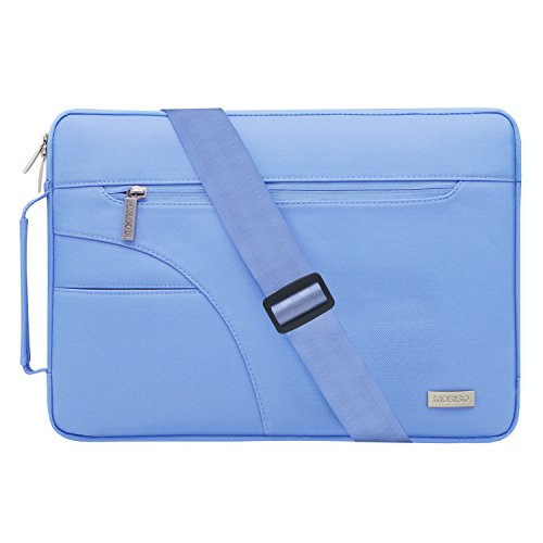 MOSISO Laptop Shoulder Bag Compatible 13-13.3 Inch MacBook Pro, MacBook Air, Ultrabook Netbook Tablet, Polyester Ultraportable Protective Briefcase Carrying Handbag Sleeve Case Cover, Serenity Blue