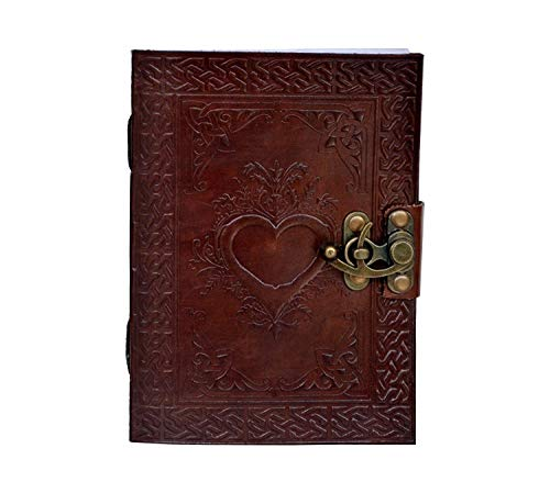 (Natural Handicraft Heart Embossed Handmade Leather Journal Brown Book of Shadows Notebook Personal Organizer Daily Planner Office Supplies Handbook 5 x 7 Inches)
