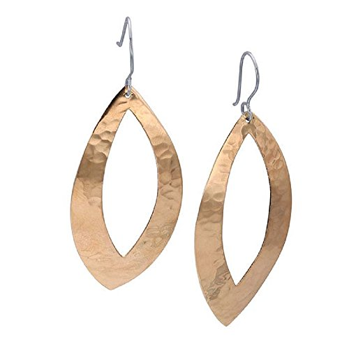 Marquise One Ring Love (X-Large Copper Hammered Open Marquise Dangling Oval Earrings – 50mm Long Hoop Dangle BOHO Copper Jewelry)