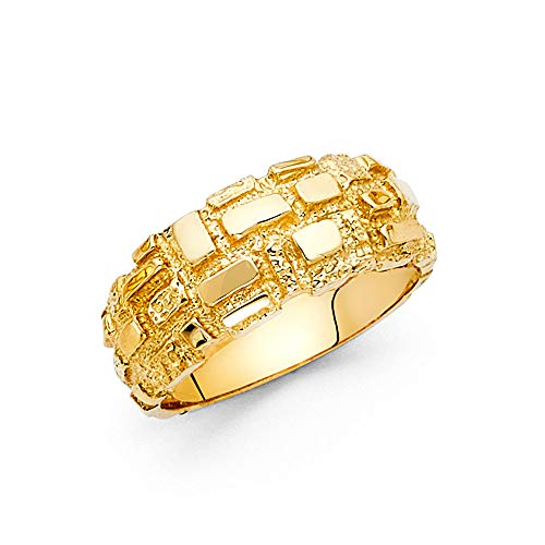 Wellingsale Men's Solid 14k Yellow Gold Heavy Nugget Ring - Size 13