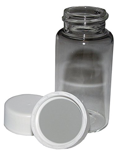 Low Background Glass Scintillation Vials, 20ml Capacity, 22mm Foil Lined Plastic Unattached Screw Caps, 500 per Case ()