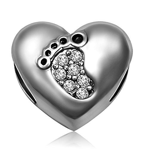JMQJewelry Baby Love Heart Footprints April Birthstone Crystal Charm for Bracelets