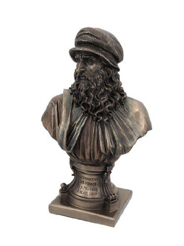 Italian Renaissance Artist Leonardo Da Vinci Figurine 9 1/8 Inch Bronze Resin Stone Bust (Bust Figurine)