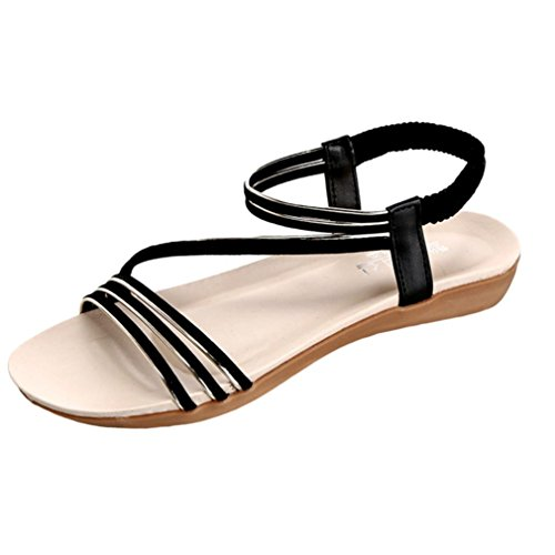 Winwintom Mujeres Zapatos Moda Bohemia plana ocio dama sandalias zapatos al aire libre Negro