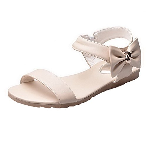 AalarDom Womens Open-Toe Low-Heels PU Solid Sandals Beige fRlrC