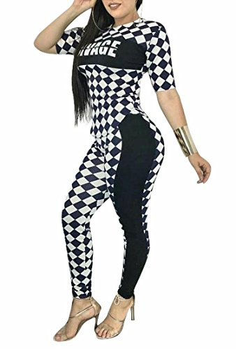 ba289b9ce2d Adogirl Womens Sexy Check Print Short Sleeve Knot Crop Top Skinny Long Pants  2 Piece Outfit