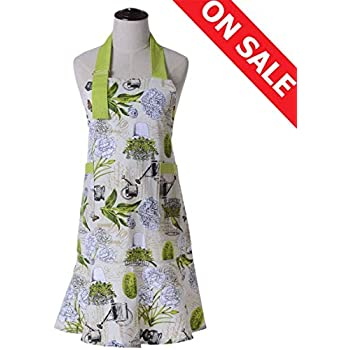 KINGO HOME Adjustable 100% Cotton Garden Cooking Women Kitchen Bib Aprons, with Pockets, Machine Washable, Cotton Canvans