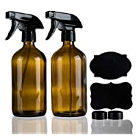 Homeries Empty Amber Spray Bottles 16 oz, Refillable, Great for Cleaning, Environment Friendly Mist Sprayer (2)