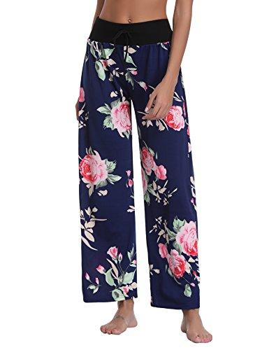 c563966c8a292 Détente Imprimé Fluide Pantalon Marine Léger Large Pyjama Bleu Eté De  Floral Jambe Décontracté Taille Yoga Pants Grande Femme ...