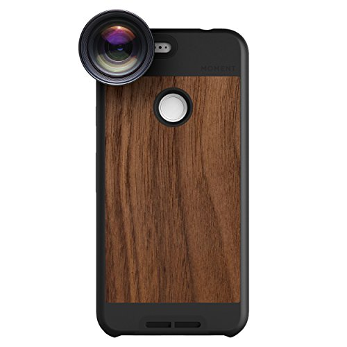 Google Pixel Case with Telephoto Lens Kit || Moment Walnut Wood Photo Case plus Tele Lens || Best google zoom attachment lens with thin protective case. by Moment