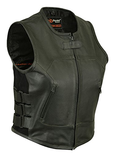 Daniel Smart Womens Motorcycle Updated SWAT Team Style Blk Premium Leather Vest with Straps(L)