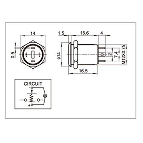 yakamoz 12mm 1  2 u0026quot  3v led light metal momentary push button