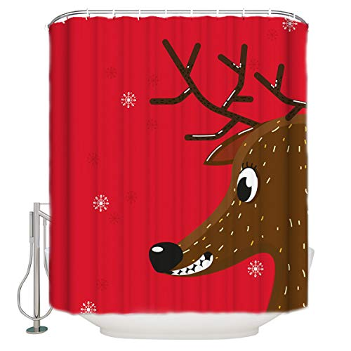 Fantasy Star Shower Curtains for Bathroom Speckle Deer and Snowflake Home Decoration Waterproof Polyester Fabric Machine Washable Bath Curtain with Hooks 66