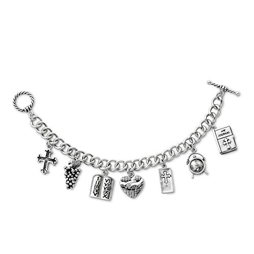 - 925 Sterling Silver Rhodium-plated Polished & Antique Answered Prayer Dangling Locket Charm Bracelet 7.5