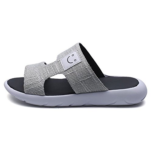 Camminare 2018 Viaggiare Spiaggia antiscivolo da autentici tela Sandali Decorati resistente con Calzature suola Gray sandali suola Canvas da l'estate in Light Pantofole da Uomo Per spiaggia fibbia uomo grg6qS
