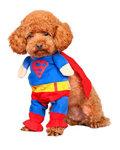 Spring fever Puppy Dog Cat Clothes Halloween Pet Apparel Costume suit Superman Cute Jumpsuit L