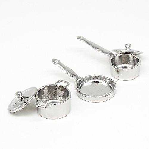 Odoria 1:12 Miniature 3PCS Sliver Cookware Set Pot Frying Pan and Boiler Dollhouse Kitchen (Dollhouse Pot)