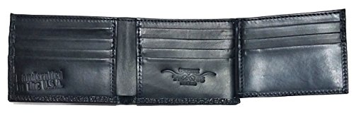 Proudly Buffalo on Leather Texas fold and Star Black a the Rugged American made Custom USA Black Rope Concho Flip Wallet ID in Bi CqwUnvY