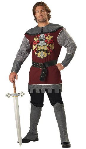 Mens Adult Noble Costumes Warrior (InCharacter Costumes Men's Noble Knight Costume, Silver/Burgundy,)