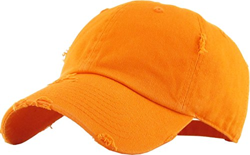 KBETHOS Vintage Washed Distressed Cotton Dad Hat Baseball Cap Adjustable Polo Trucker Unisex Style Headwear (Vintage) Orange Adjustable -