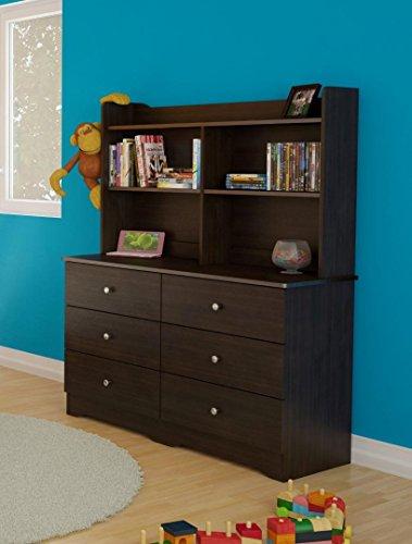 Nexera Pocono 6 Drawer Double Dresser with Hutch in Espresso Double Dresser Hutch