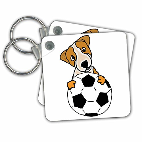 All Smiles Art Sports and Hobbies - Funny Cute Jack Russell Puppy Dog Playing Soccer - Key Chains - set of 2 Key Chains (kc_255774_1)