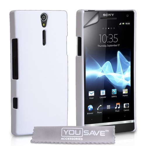 White Hard Hybrid Back Case Cover For The Sony Ericsson Xperia S LT26i With Screen Protector Film And Grey Micro-Fibre Polishing Cloth